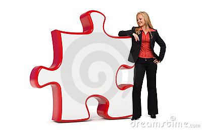Business woman with empty puzzle board