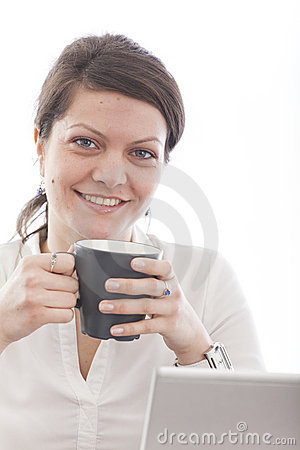 Business woman enjoying coffe