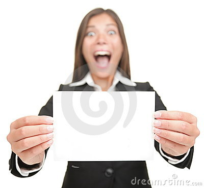 Business woman excited holding blank sign card