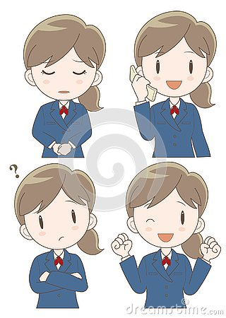 Free Business Woman Expression Set Stock Photos - 130498783