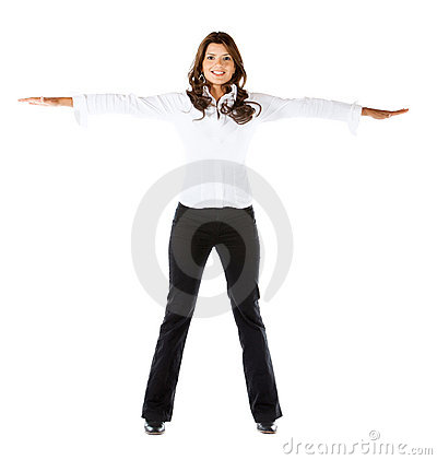 Business woman with extended arms