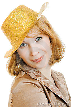Business woman in a festive gold hat