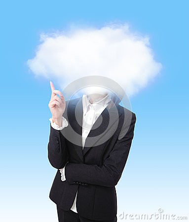 Business woman finger point to cloud