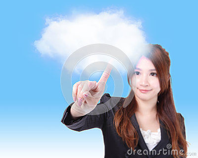 Business woman finger touch cloud