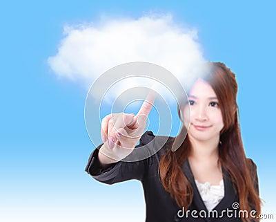 Business woman finger touch cloud