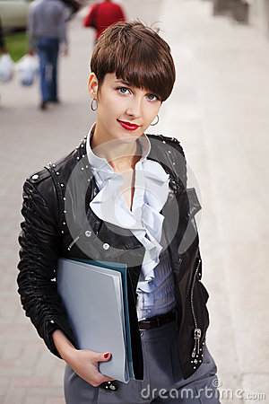 Business woman with a folders