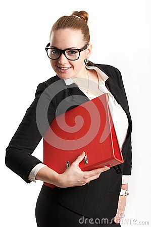 Business woman with folders on  light background