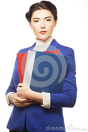 Business woman with  folders.
