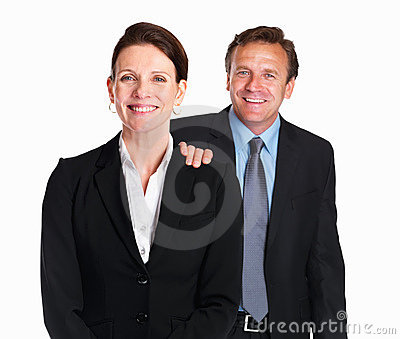 Business woman with friendly colleague s