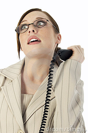 Business Woman Frustrated with Phone Call