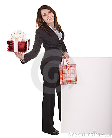 Business woman with gift box, banner.