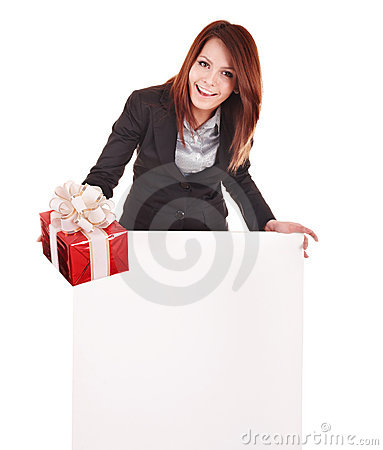 Business woman with gift box and banner.