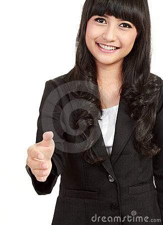 Business woman giving hand for handshake