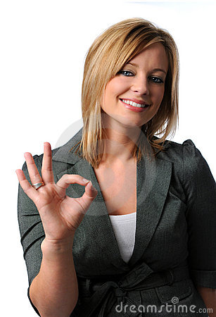 Free Business Woman Giving The OK Sign Royalty Free Stock Image - 4451876
