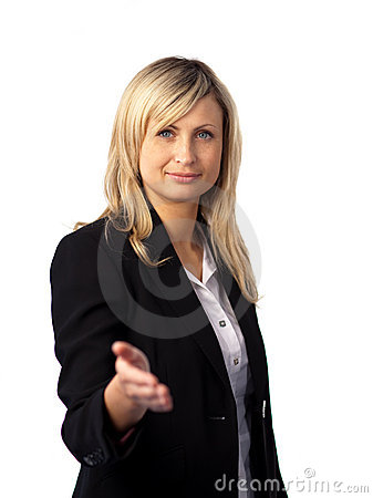 Business woman giving a welcome gesture