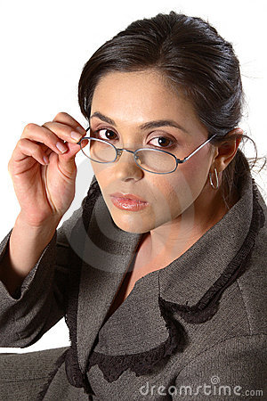 Business woman with glasses closeup