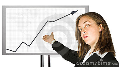 Business woman with glasses doing a presentation