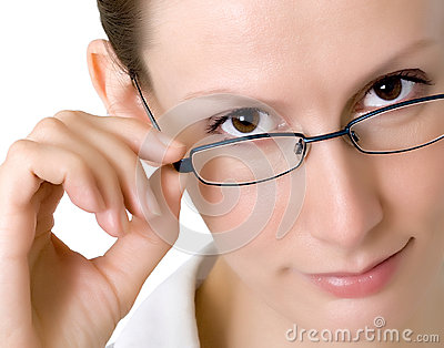 Business woman glasses isolated white