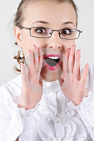 Business woman with glasses shouting