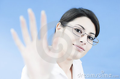 Business woman greeting the customer