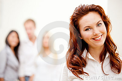 Business woman with a group