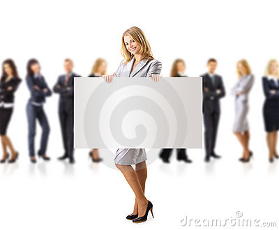 Business woman and group holding a banne