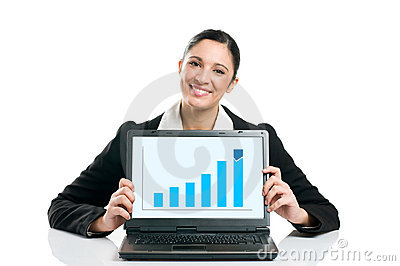 Business woman with growing chart