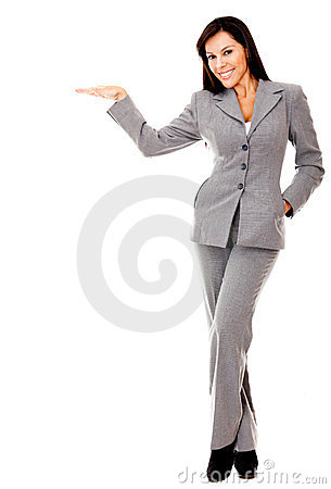 Business woman with hand extended
