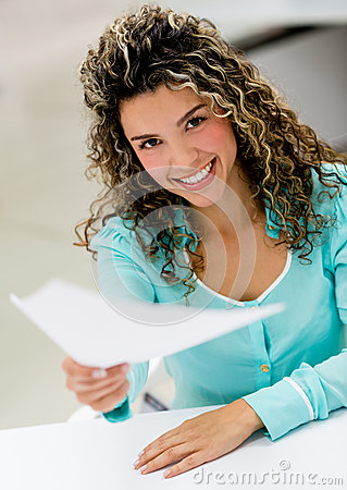 Business woman handling documents