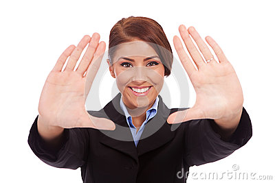 Business woman hands frame