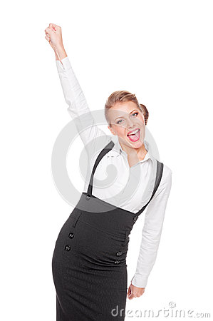 Business woman happy of her success