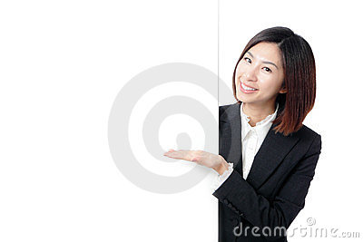 Business Woman Happy Smile Showing blank billboard