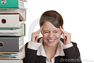 Business woman has migraine because of stress