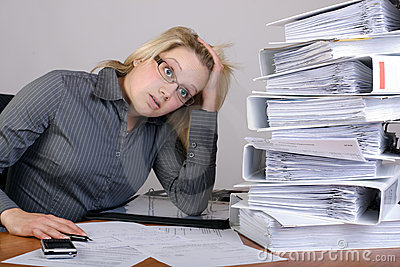 Business woman has stress in office