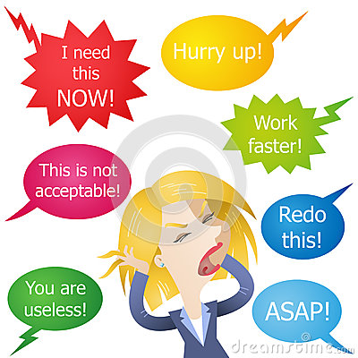Business woman hassled stressed yelled at