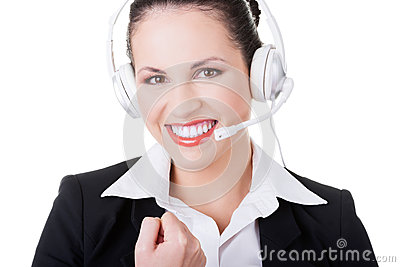Business woman with headphones.