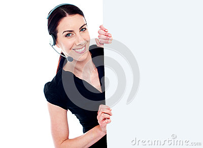 Business woman with headset and banner ad