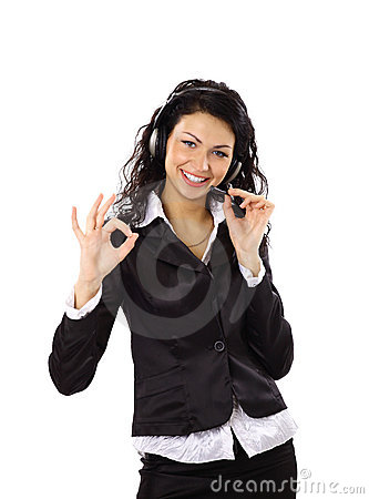 business woman with headset and showing ok sing.