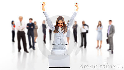 Business woman with her hands raised