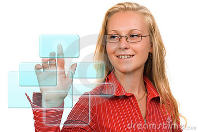 Business woman - Hi-tech buttons