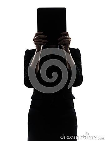 Business woman hiding computer computing  digital tablet silhoue