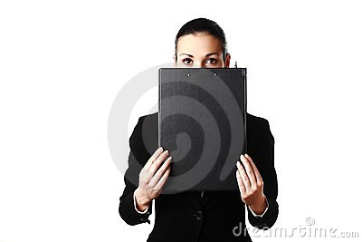 Business woman hiding face behind black folder