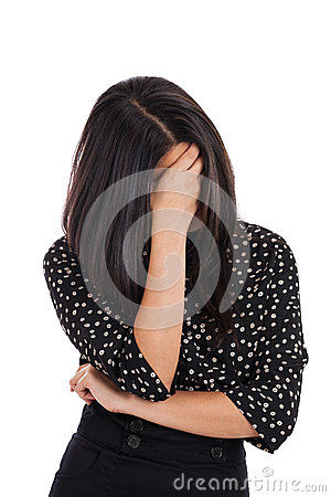 Business woman hiding face in shame isolated on white