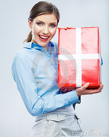Business woman hold gift box in christmas color st