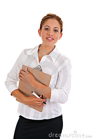 Business Woman Holding Binder Isolated