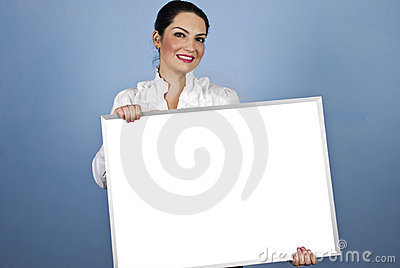 Business woman holding a blank sign