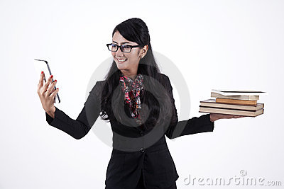 Business Woman Holding Books and Digital Tablet