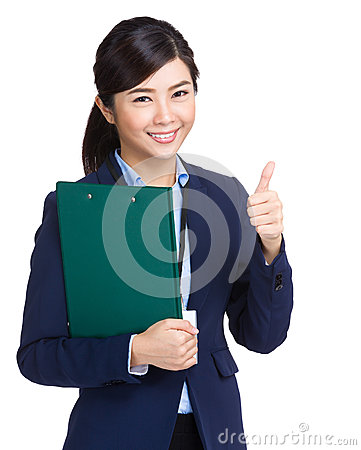 Business woman holding clipboard and thumb up