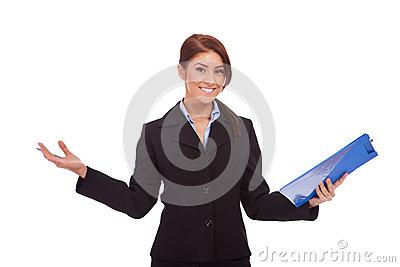 Business woman holding a  clipboard and welcoming