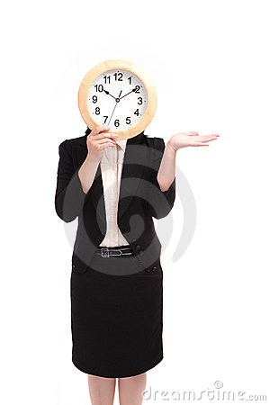 Business woman holding clock